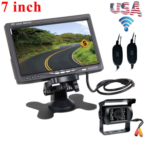 "7"" Monitor +Wireless IR Rear View Backup Camera Night Vision System For RV Truck"