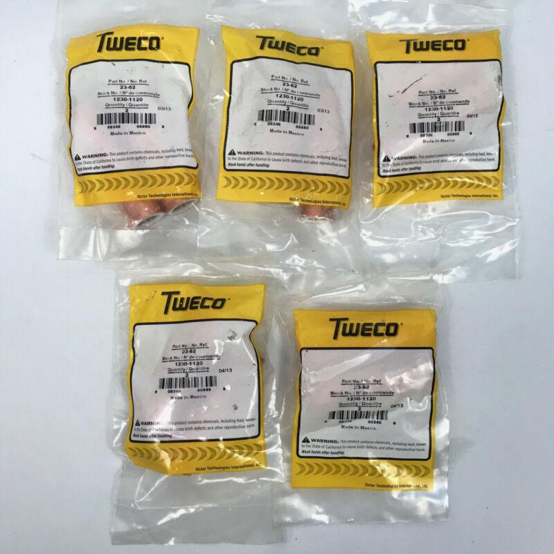 """Lot (10) Genuine Tweco 23-62 5/8"""" Mig Welding Nozzles Fits Tweco #2 #4 1230-1120"""