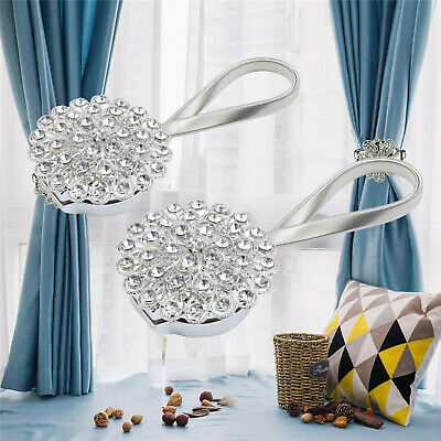 2Pcs Crystal Curtain Tiebacks Strong Magnetic Tie Backs Buckle Clips Holdbacks