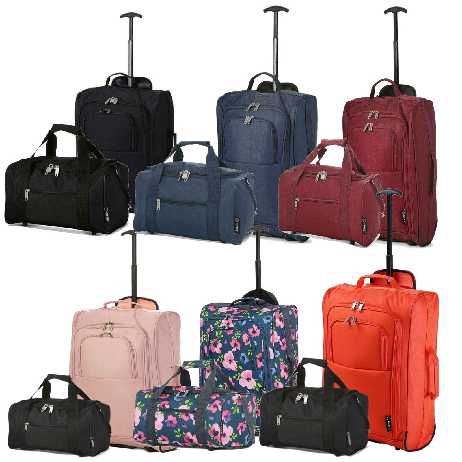 9e8321835e5 Details about Ryanair Approved Hand Luggage Set 40x25x20 Holdall & 55x35x20  Cabin Bag Trolley