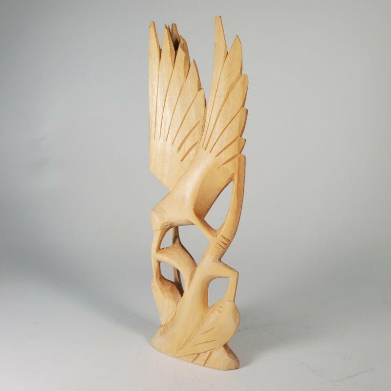 "Hummingbird Feeding Babies Hand Carved Wooden Figurine Natural Wood 8"" Tall"