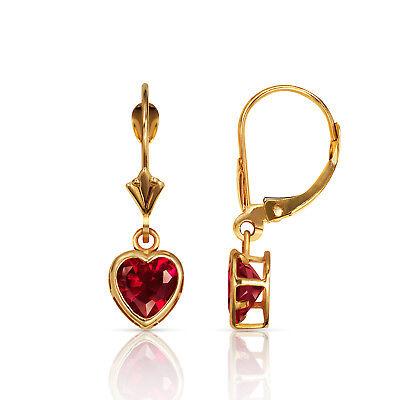 14K Solid Yellow Gold Bezel Set Red Ruby 6mm Heart Leverback Dangle Earrings