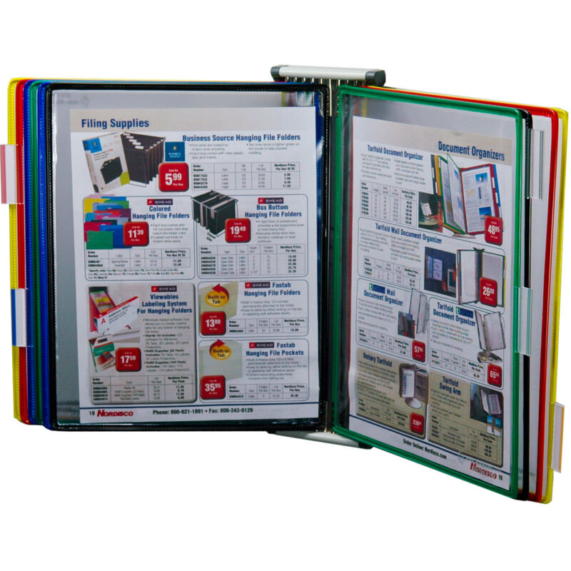 """Tarifold W291 Wall Mounted 10 Pocket Reference Rack, Holds 20 8.5 x 11"""" Sheets"""