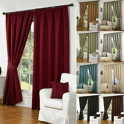 """Luxury Waffle Effect Lined Pencil Pleat 3"""" Tape Top Ready Made Curtains Set"""