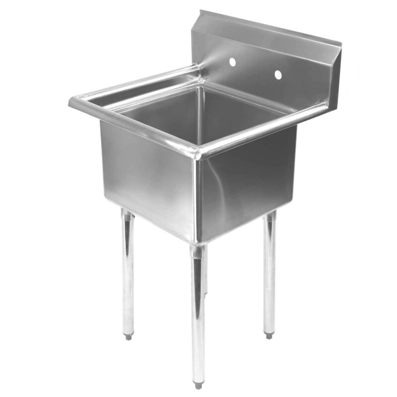 "Stainless Steel Utility Sink for Commercial Kitchen - 23.5"" Wide"