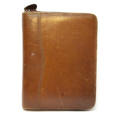 Vintage Day-timer Genuine Leather Zippered Planner Multi-pockets 7 Rings 10.5x8