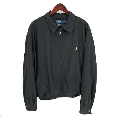 Polo Ralph Lauren Bi-Swing Black Windbreaker Golf Jacket Poly Mens 2XL XXL