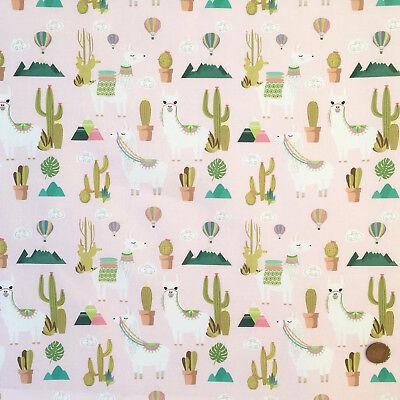 Pink Alpaca, cactus & hot air balloon design fabric 100% cotton 58