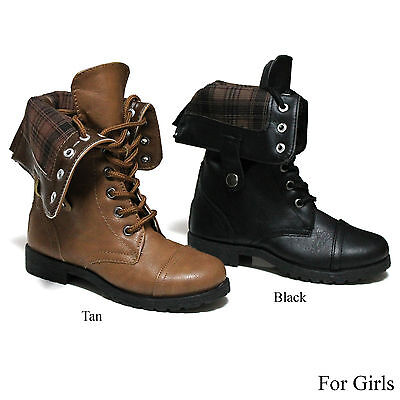 New Girls Lace Up Flannel Fold Over Cuff Military Combat Kid Boots Size 10-4 (Girls Combat Boots)