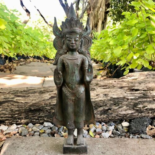 "17.5"" Thailand Antique Standing Buddha Statue In King"