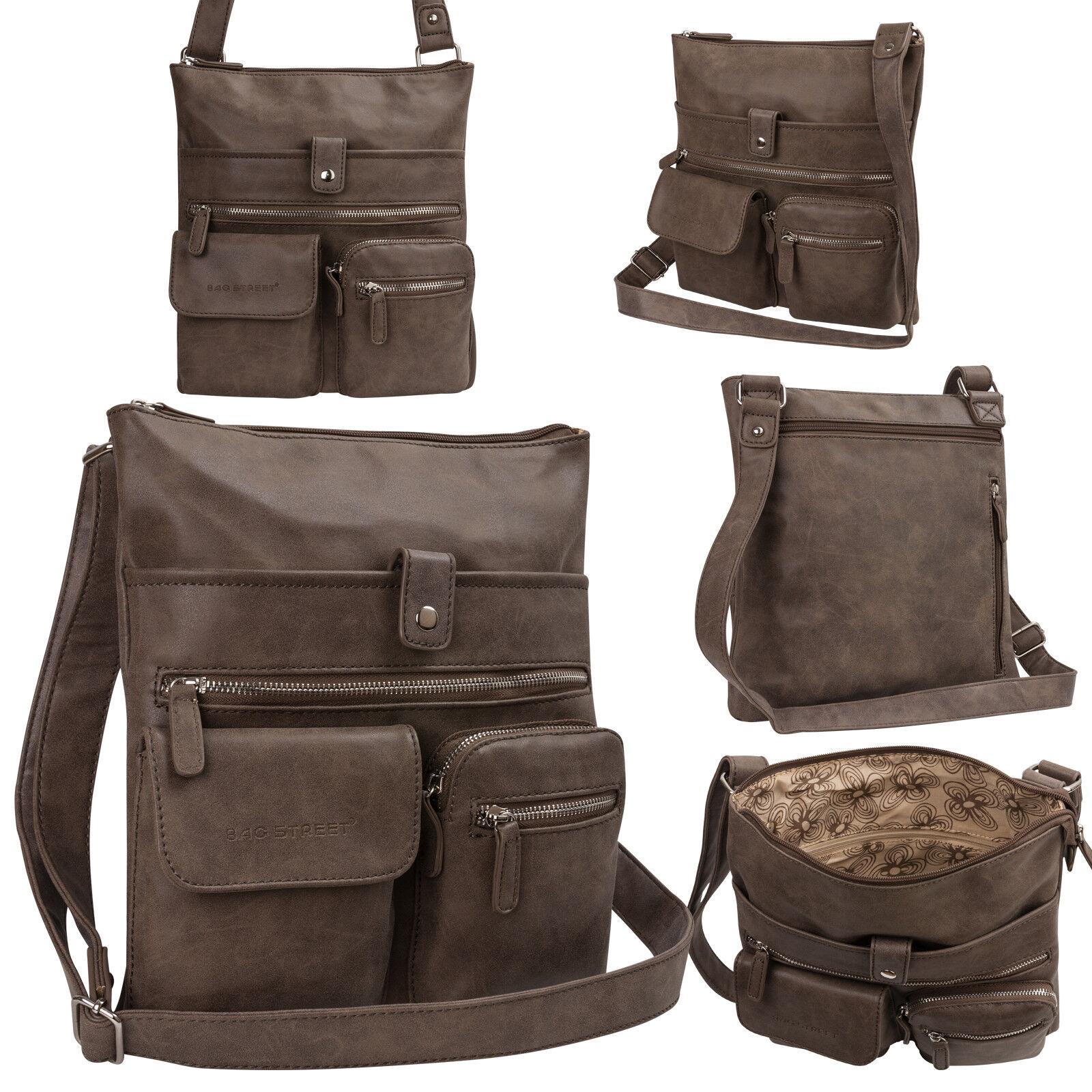 Bag Street Damentasche Umhängetasche Handtasche Schultertasche K2 T0100 Braun