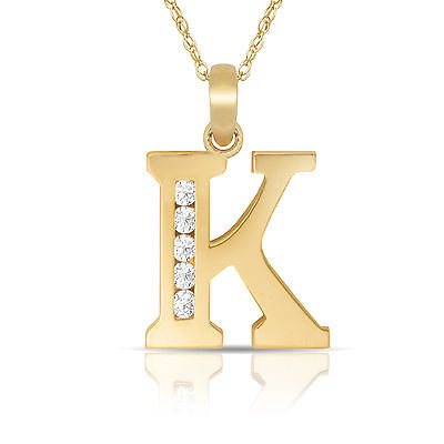"14K Solid Yellow Gold Block Initial ""K"" Letter Charm Pendant & Necklace"