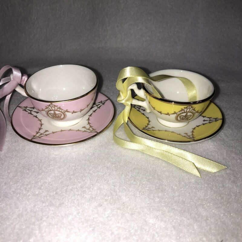 2 Miniature Teacups Buckingham Palace Pink & Yellow 22k Gold Windsor Ornament