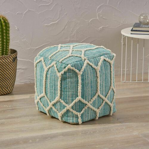 Erza Boho Wool and Cotton Ottoman Pouf Furniture