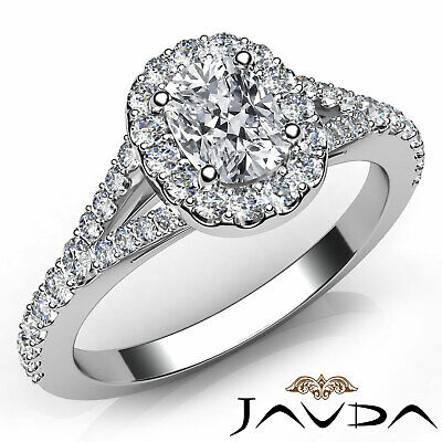 Split Shank Halo Prong Set Cushion Diamond Engagement Ring GIA G Color VVS2 1Ct