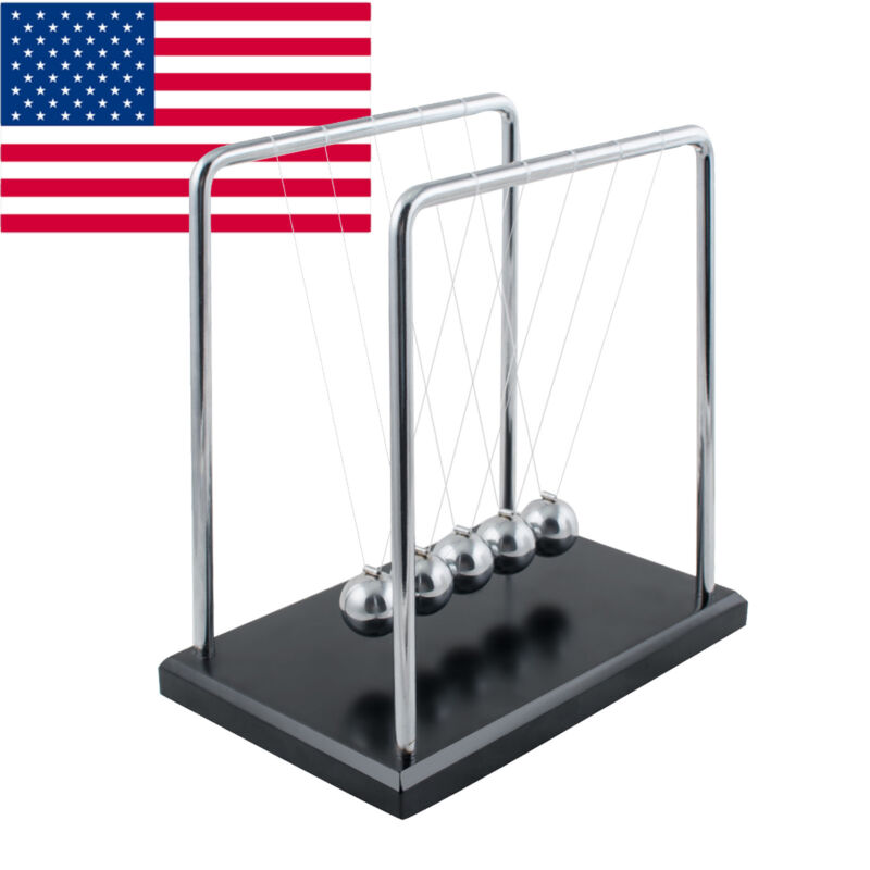 US Large Newtons Cradle Office Desk Toy Kenetic Educational Gravity Balance Ball
