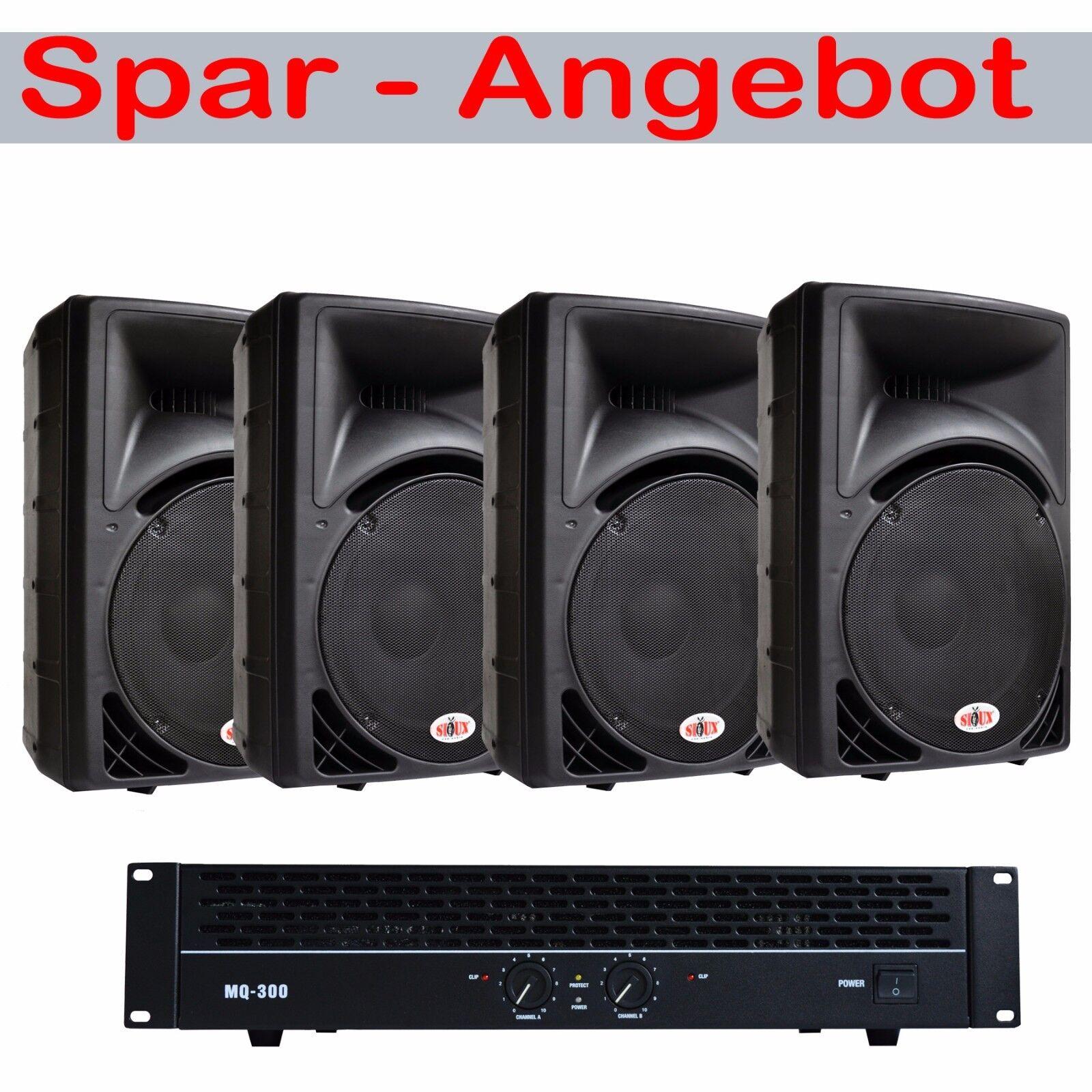 4800 Watt LAUTSPRECHER SET ENDSTUFE + 4 x 1200 WATT PROFI MUSIKER DJ- BOXEN