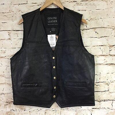Navarre Leather Company Mens Black Biker Western Vest Large Concealed Carry