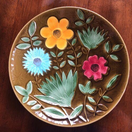 """Vintage Sarreguemines Mottahedeh Design Faience 12"""" Plate France Floral MCM"""
