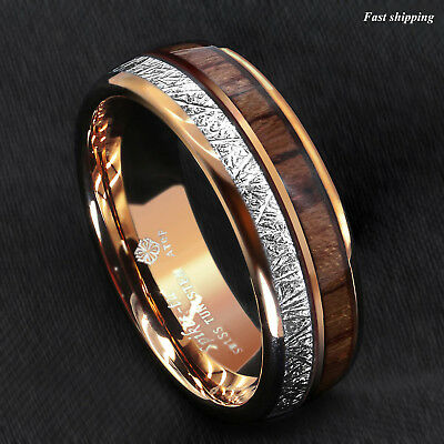 - 8/6mm Rose Gold Dome Tungsten Ring Silver Koa Wood Inlay Bridal ATOP Men Jewelry