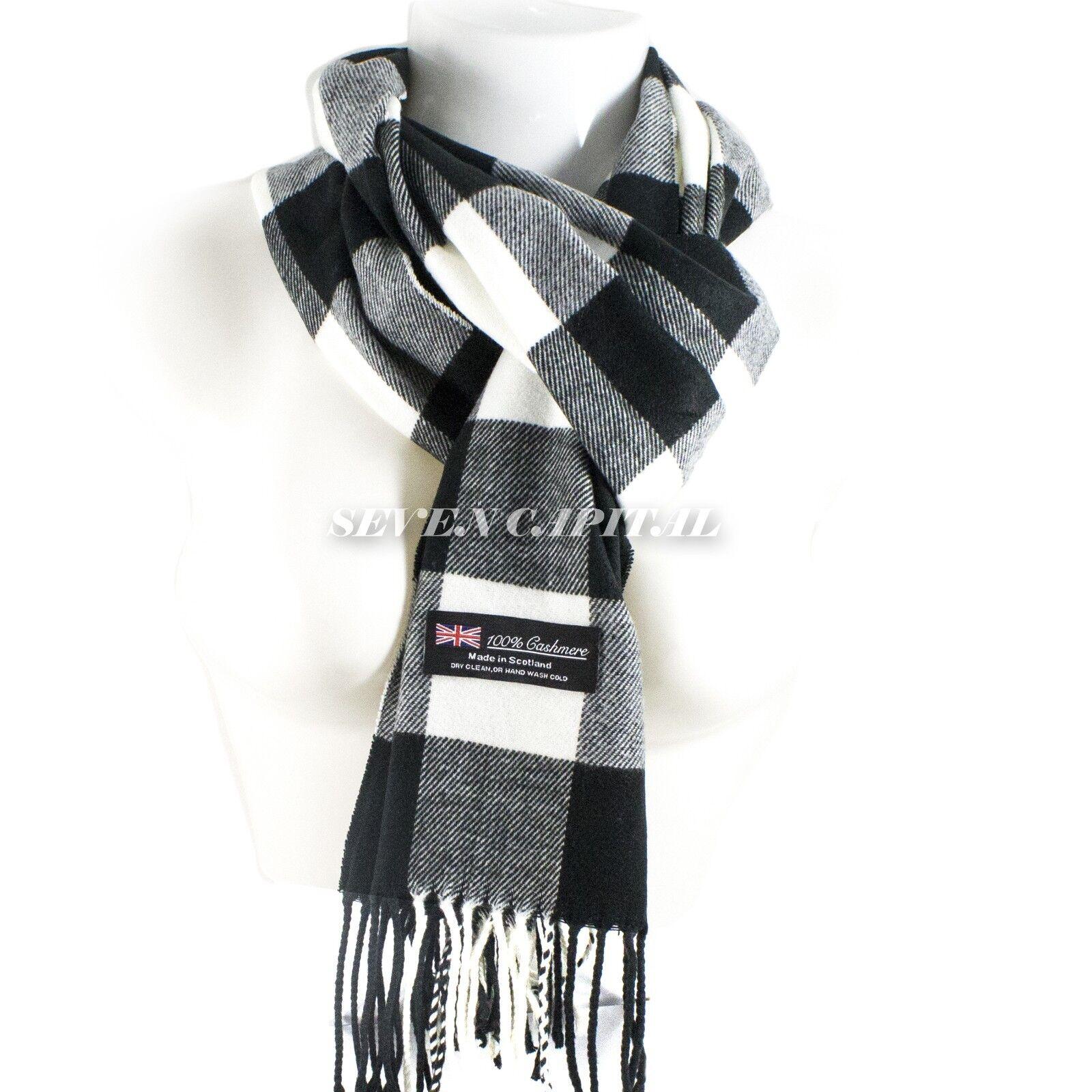 Mens Womens Winter Warm SCOTLAND Made 100% CASHMERE Scarf Scarves Plaid Wool 16. Plaid: Black/White/Grey