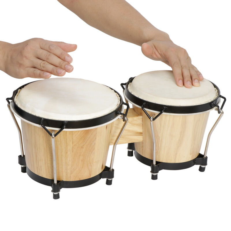 Professional Bongo Drum Set Studio Band Music Instruments with Tuning Wrench