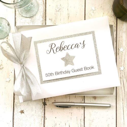 PERSONALISED BIRTHDAY GUEST BOOK STAR ~  PARTY/ GIFT 16/18/21/30/40/50/60/70/80