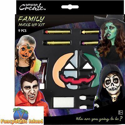 Halloween Bridal Makeup (Spooky Pumpkin Family Make Up Kit Face Paint Halloween Fancy Dress)