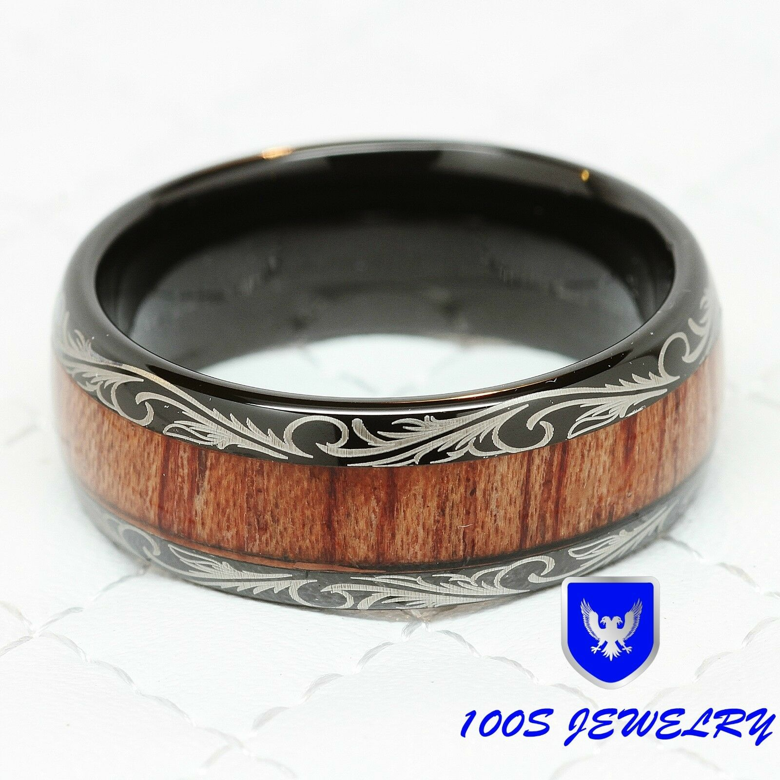 mens women wedding band black tungsten ring koa wood inlay comfort