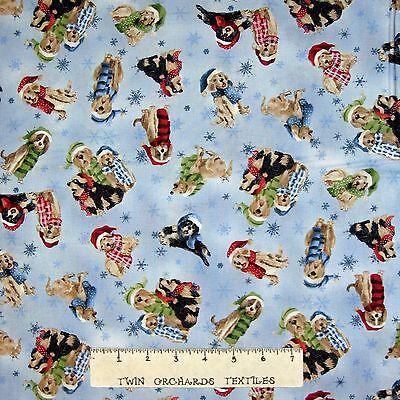 Christmas Fabric - Season's Greetings Singing Dog Choir Blue - Fabri Quilt YARD