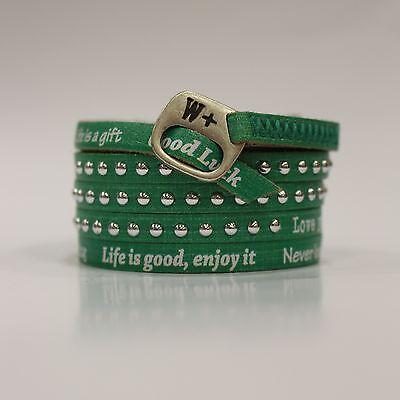 We Positive original Armband echtes Leder mit positiven Sprüchen Nieten Grün NEU ()