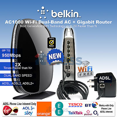 Belkin AC 1000 Wi-Fi Dual-band Gigabit Modem Router ADSL Router High Speed NEW