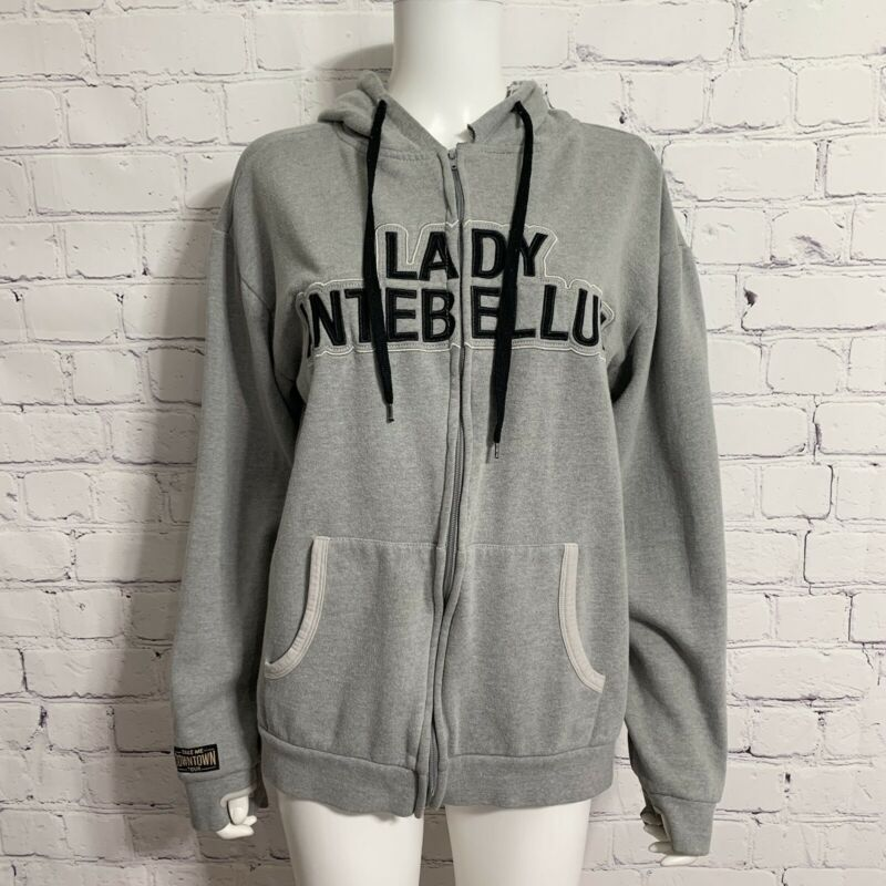 Lady Antebellum Women's Take Me Downtown Tour Jacket L Gray Zip Hoodie Thumbhole