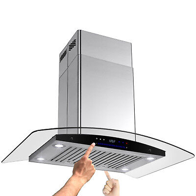 "Best Kitchen 30"" Glass Island Mount Stainless Steel Range Hood 9-9.5ft Ceiling"