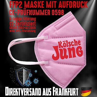 FFP2 Maske Mundschutz Mundmaske rosa CE 0598 Aufdruck Kölsche Jung Köln