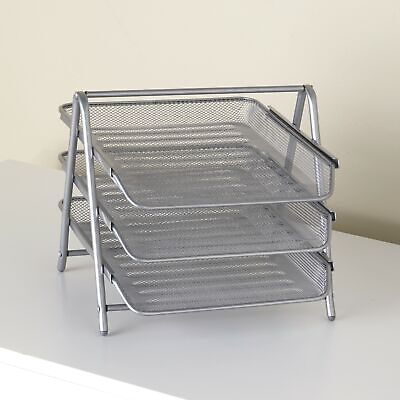 3-tier Paper Tray Organizer For Home And Office - Solid Silver