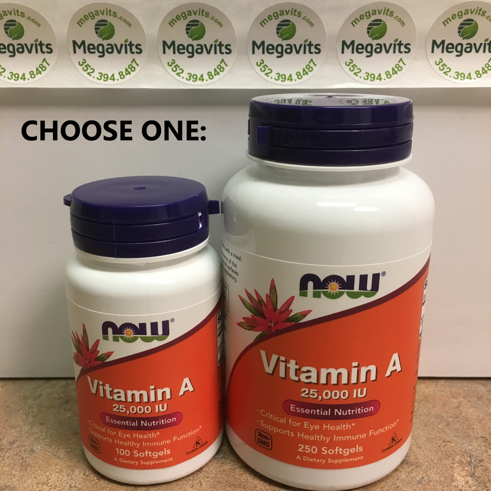 CHOOSE ONE NOW Vitamin A 25000 IU 100 OR 250 Softgels Essential Nutrition