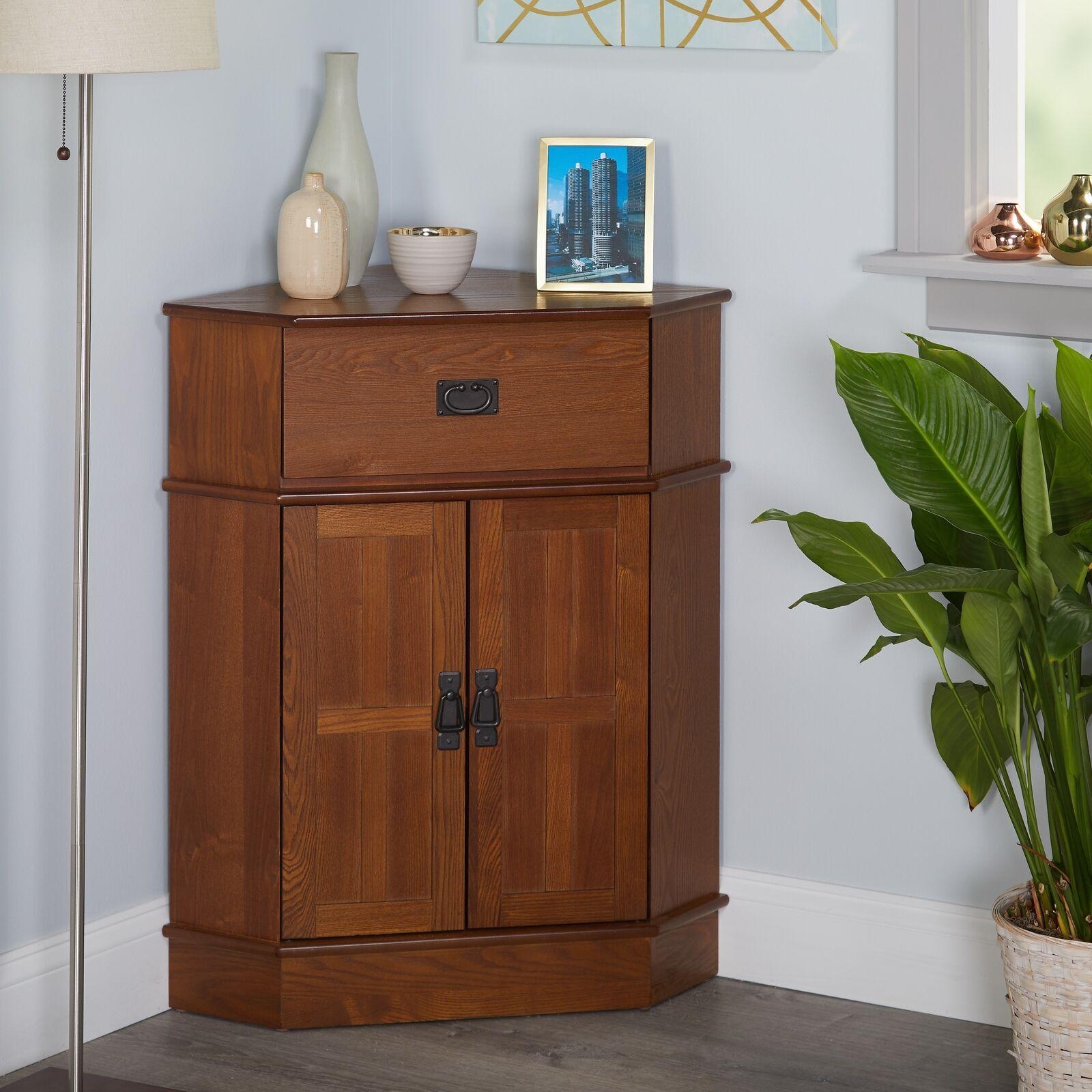 Corner Cabinet With Doors Floor Storage Mission Style Organizer
