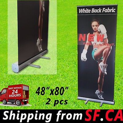 Retractable Roll Up Banner Stand Trade Show Pop Up Display Stand2 Pcs48 X 80
