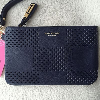 Isaac Mizrahi New York   Blue Travel  Wallet Handbag Insert Wristlet Pouch