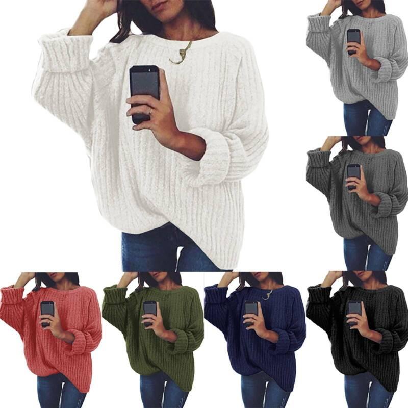 Damen Langarm Baggy Pullover Mit Rundhalsausschnitt Winter Warm Mode Sweater Top
