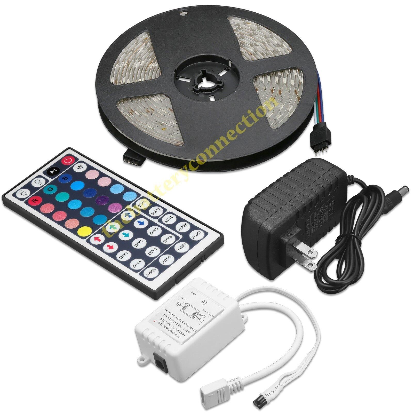 5M RGB 5050 Waterproof LED Strip light SMD 44 Key Remote 12V US