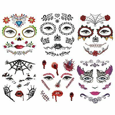 Day of the Dead Temporary Halloween Eye and Face Tattoos (Assorted - Day Of The Dead Tattoo Designs