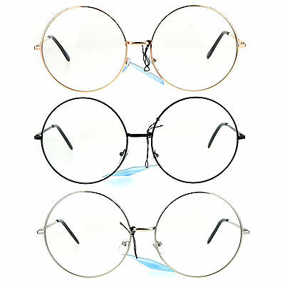 Womens Huge Oversize Large Retro Hippie Round Circle Clear Lens Eye (Huge Hipster Glasses)