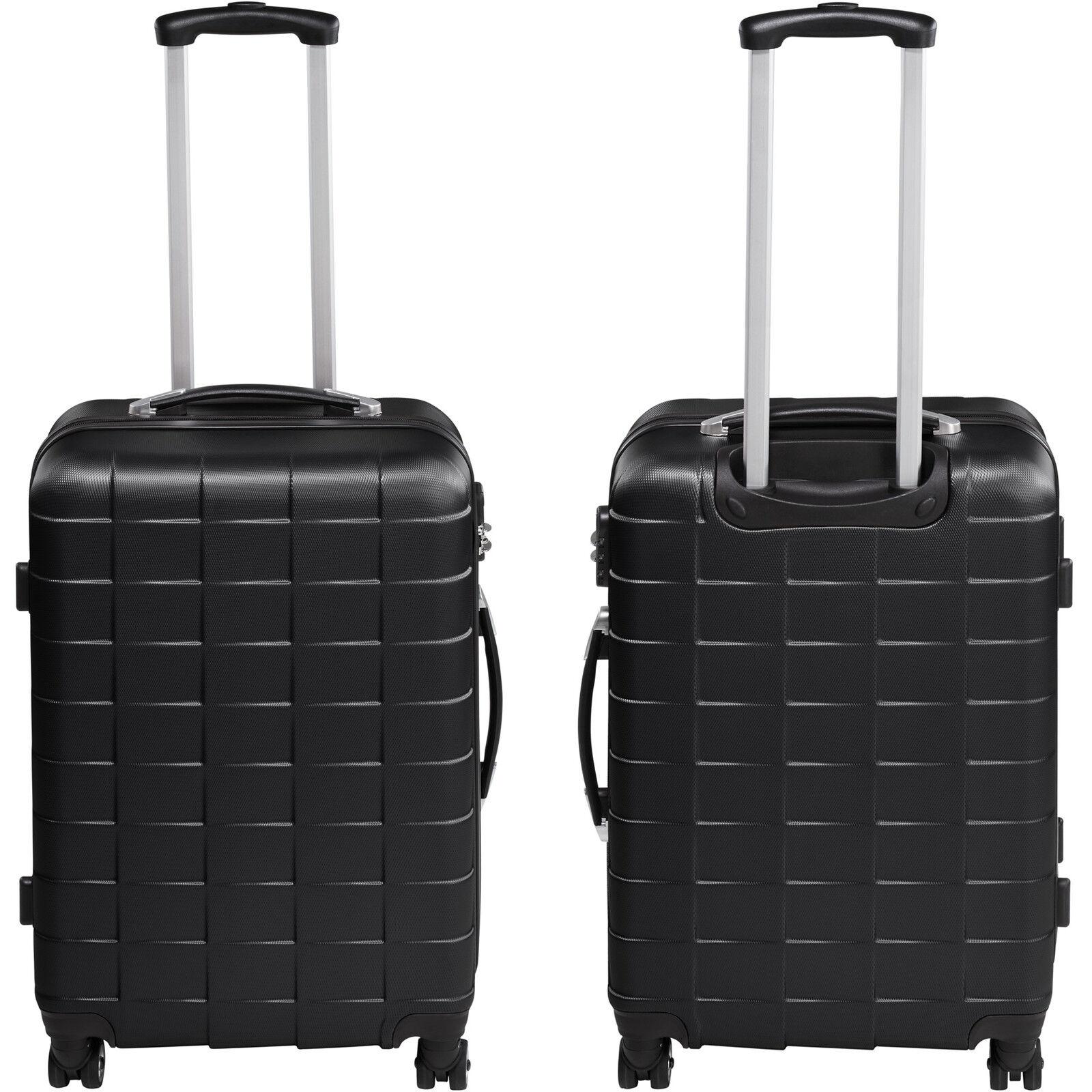 Set de 3 valises de voyage coque ABS léger rigide bagages valise trolley noir 3