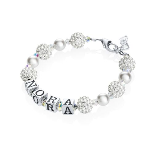 White Personalized Sterling Silver Name Baby and Child Bracelet