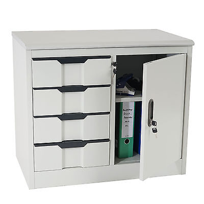Aktenschrank Boston T310, Büroschrank Metallschrank, 4 Schubladen Tür 70x80x42cm