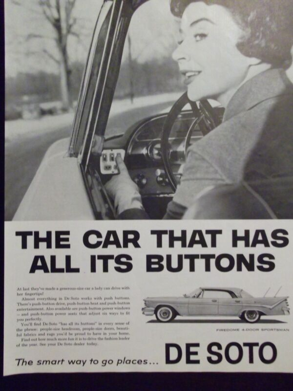 1959 De Soto Firedome 4-Door Sportsman Automobile Push Buttons Advertisement