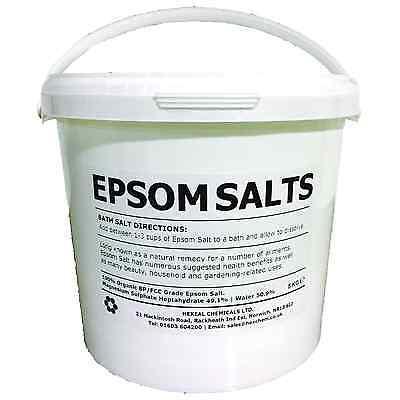 EPSOM BATH SALTS | 5KG BUCKET | 100% Organic | Food Grade | Magnesium Sulphate