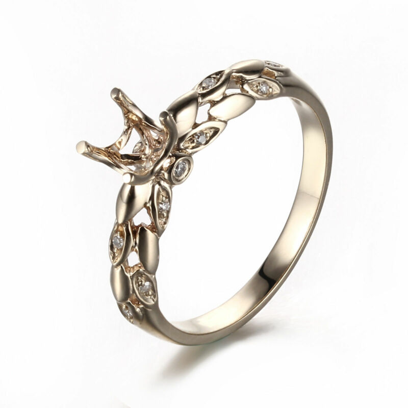 Solid 14K Yellow Gold Engagement Wedding Diamond Ring Semi Mount Prong Setting